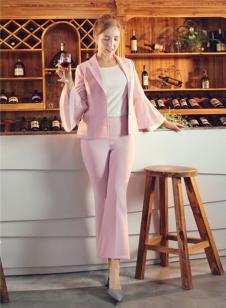 图案女装2017年春夏新品粉色套装