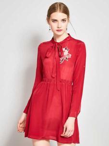 ZIMMUR17春夏新款红色连衣裙