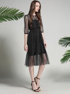 凡恩17夏新款唯美黑色连衣裙