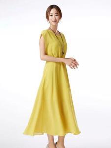 夏柏女装嫩黄色长裙
