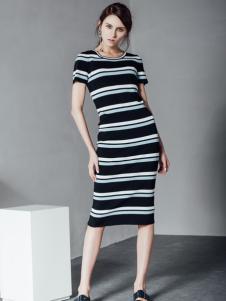 2017威丝曼新款条纹连衣裙