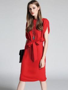 凡恩17夏新款唯美红色连衣裙