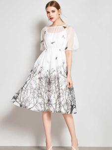 ZIMMUR17春夏新款白色印花裙