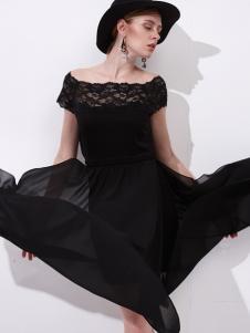雷索思新款黑色无袖连衣裙