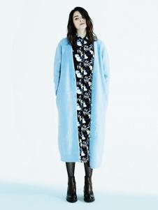 序言女装蓝色长外套