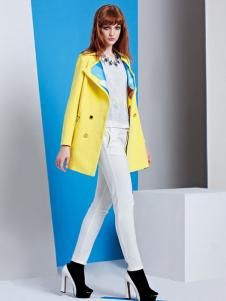 薰奈儿女装嫩黄色中长款外套