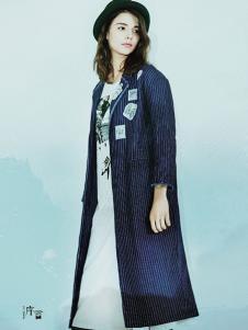 序言女装条纹长外套