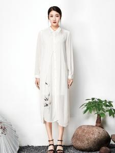 水墨生香纯色山水印纹连衣裙