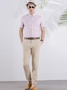 雅戈尔男装粉色休闲衬衫