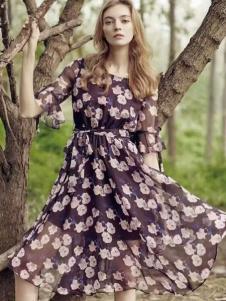 Yanbo妍帛2017春夏新品印花雪纺裙