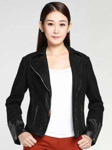 姚领女装黑色皮衣