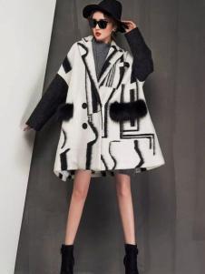 YAMISS娅玛诗女装黑白色廓形大衣