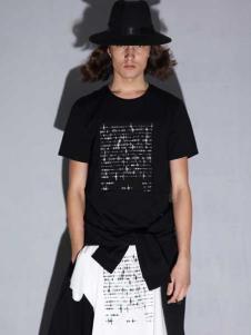 线锁日系时尚男装新款黑色T恤