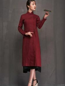 YAMISS娅玛诗女装酒红色修身旗袍