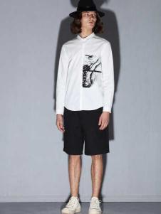 线锁日系时尚男装新款白色衬衫
