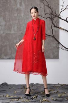 阅爱女装定制新品红色中国风女裙