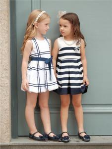 两个小朋友2017年春夏新品条纹裙