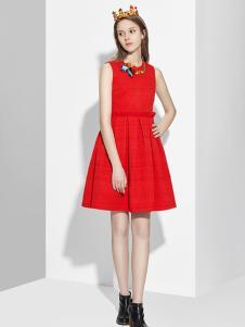伊豆莫兰女装红色连衣裙