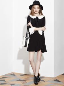 伊豆莫兰女装黑色连衣裙