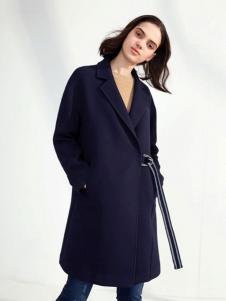 伊芙丽2017春夏新品藏青色外套