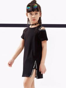 2017快乐丘女童黑色连衣裙