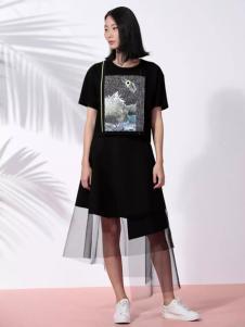 THAT'S ALL女装2017春夏新品黑色纱裙