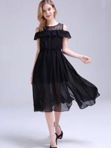 依锦瑞女装黑色雪纺裙