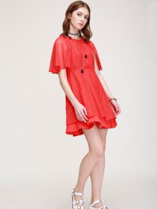 betu百图17夏季新款红色连衣裙