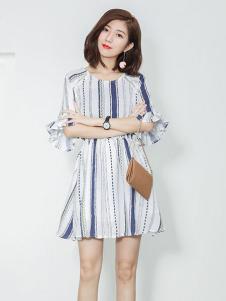 衣之纯2017春夏新品条纹裙