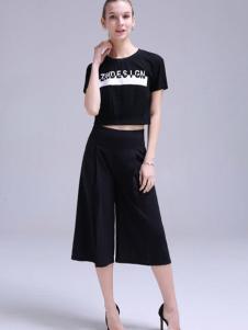 依锦瑞女装黑色阔腿裤