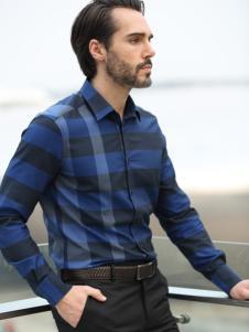 富绅春时尚新款时尚蓝色格纹衬衫