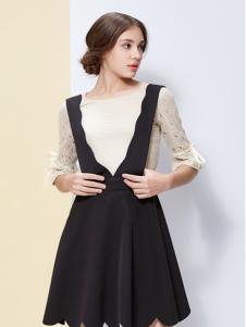 IVENI依维妮2017春夏新品背带裙