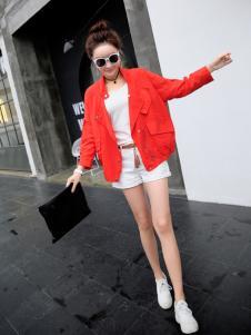 欧出色红色新款外套