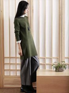 易菲女装YIFINI易菲2017春夏新品绿色套头衫