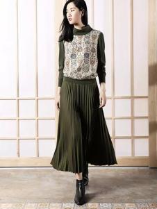 易菲女装YIFINI易菲2017春夏新品墨绿色褶裙