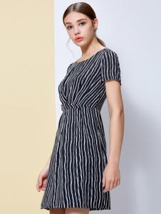 IVENI依维妮2017春夏新品条纹收腰裙
