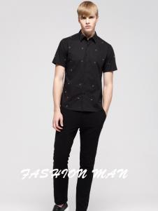 2017佐纳利男士黑色衬衫
