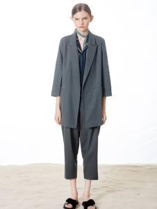 奕色2017春夏新品灰色西装领外套