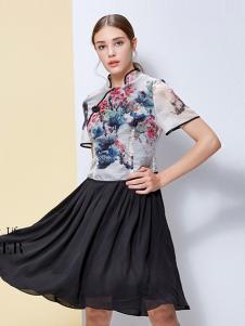 IVENI依维妮2017春夏新品黑色半裙