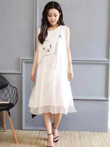 衬茉女装衬茉17夏季新款白色棉麻连衣裙