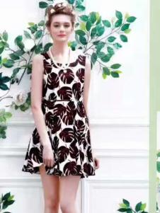 衬茉17夏季时尚新款印花裙