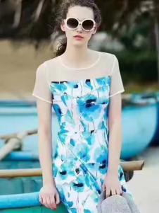 衬茉17夏季时尚新款唯美印花裙
