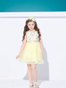 铅笔俱乐部印花黄色连衣裙