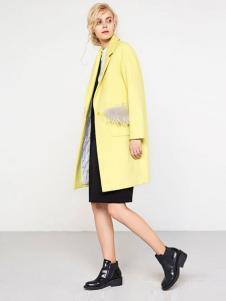 UZZU优组女装黄色大衣