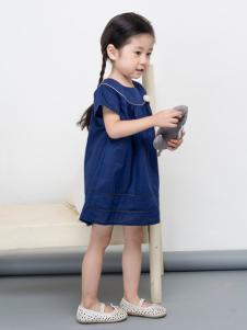 优果贝贝2017春夏装新品蓝色女裙