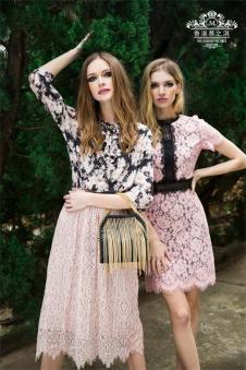 慕之淇2017夏季新品粉色蕾丝裙