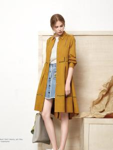 丽芮黄色时尚风衣新款