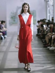 Flora Garden英伦花庭女装红色背带裙