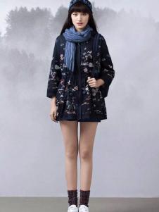 渔牌女装2017春夏新品印花廓形外套