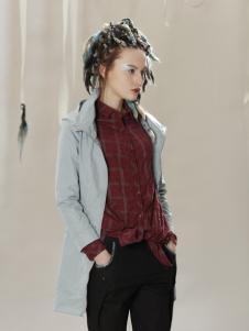 约布时尚长款蓝色外套